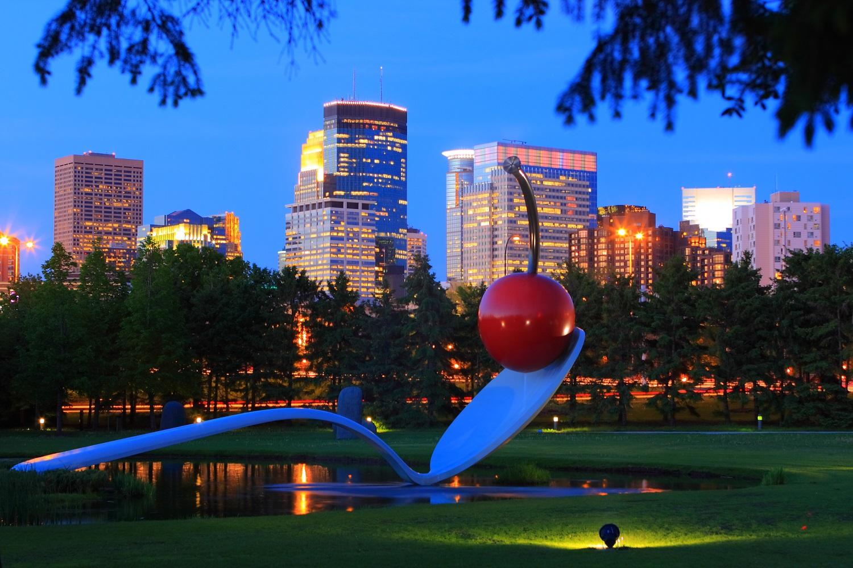 Minneapolis Skyline at dusk with Spoonbridge and Cherry