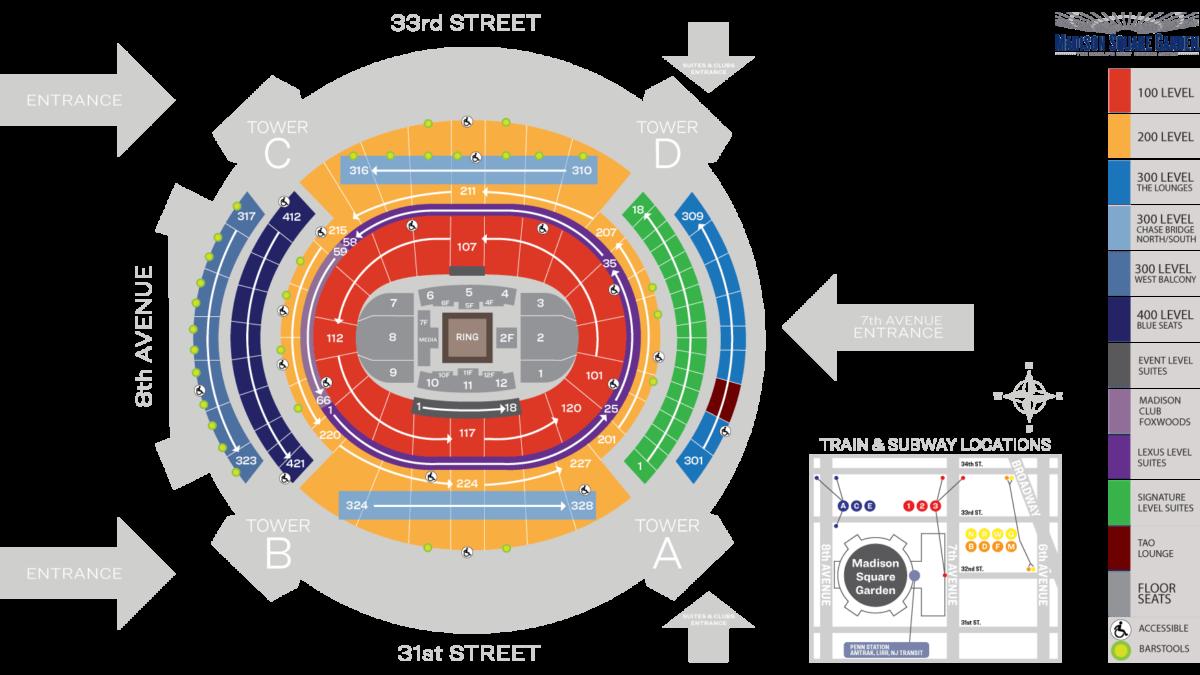 Boxing - Madison Square Garden Seat Map